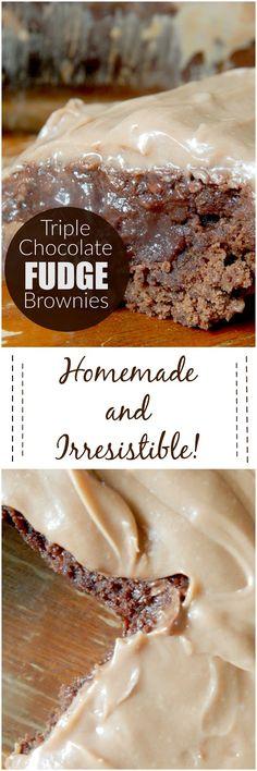 triple chocolate fudge brownies (sweetandsavoryfood.com)
