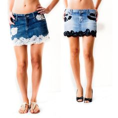 So cute lace and denim skirt