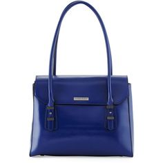 Charles Jourdan Maine Flap-Top Leather Shoulder Bag ($145) ❤ liked on Polyvore featuring bags, handbags, shoulder bags, blue, real leather handbags, zipper purse, blue shoulder bag, leather handbags and leather purse