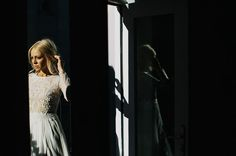 Love the shadows in this bridal photo! Photo Credit: http://philchester.com/. From http://greenweddingshoes.com/modern-chic-brooklyn-wedding-amanda-sean/.