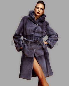 Sapphire Rex Fur Coat with Mink Trim Hood
