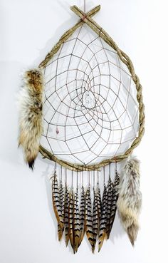 Giant Vine Dream Catcher with Quartz Crystals, Amethyst and Big Pheasant Feathers Coyote Tails Custom Huge Large Dreamcatcher