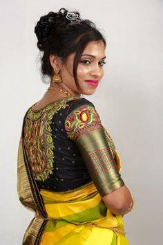 Sexy Blouse, Saree Blouse, Black Blouse Designs, Aari Work Blouse, Silk Saree Kanchipuram, Maggam Works, Indian Wedding Hairstyles, Indian Blouse, South Indian Bride