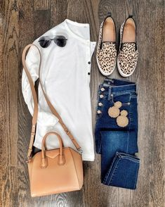 White top, button up jeans, Givenchy bag, leopard sneakers, & gold earrings Summer Work Outfits, Fall Winter Outfits, Spring Outfits, Mode Outfits, Fashion Outfits, Fashion Trends, Casual Outfits, Casual Clothes, Cute Sneaker Outfits