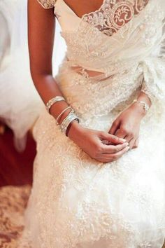 What a gorgeous idea, a delicate lace wedding sari for the modern Indian bride. Especially perfect for a fusion wedding or a church wedding ceremony - Indian bride - Indian wedding - wedding saree - wedding dress - lace saree - white lace saree Wedding Robe, Wedding Gowns, Sari Wedding Dresses, Wedding Reception, Wedding Sarees, Wedding Outfits, Wedding Decor, Bridesmaid Dresses, Indian Dresses