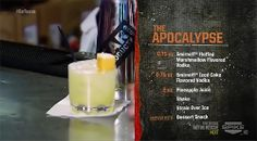 Apocalypse (from Bar Rescue) Mixed Drinks, Fun Drinks, Yummy Drinks, Alcoholic Drinks, Popular Bar Drinks, Cocktail Shots, Cocktail Recipes, Famous Cocktails, Alcohol Drink Recipes