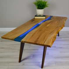 Resin River Coffee Table on Walnut Base by Brunswickvintage on Etsy