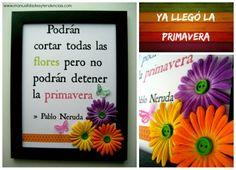 cuadro hecho a mano para primavera con mensaje www.manualidadesytendencias.com #manualdiades #scrapbooking