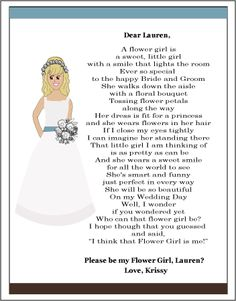 Thank You Bridesmaid Poem | Personalized wedding flower girl gift