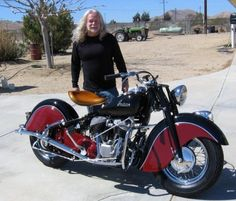"""Butch and his brand new """"old"""" 1947 Indian Chief. ( I Love The Bike )"""