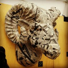 Paper Mache Ram head by MountedPaper on Etsy