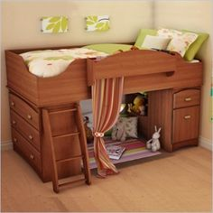 Almost exactly what I want to build for her bed. I want her dresser at the foot of the bed underneath like this, then maybe a rod under the rest for more closet space with a curtain to hide the mess.