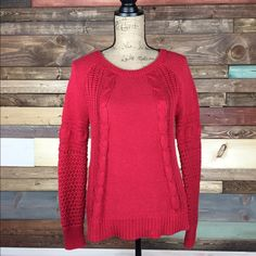 Oversized Knit Sweater Oversized Knit Sweater   Super soft and cozy, oversized sweater from AE.   #woodsnap #aesweater #redsweater #crochet #openknit #oversized American Eagle Outfitters Sweaters Crew & Scoop Necks