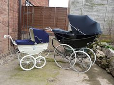 English silver cross pram for baby..and a pram for dolly.***too***