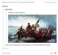 21 Totally True And Scientific Facts About America -- this is he most hilarious post I've read in a long time! Tumblr Funny, Funny Memes, Hilarious, Facts About America, Making My Way Downtown, History Jokes, Funny History, Art Memes, George Washington