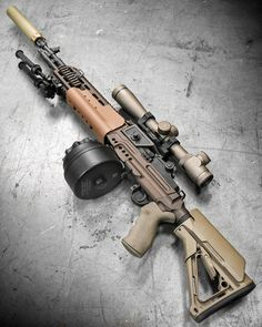 Crazyhorse! Crush the enemy. The Smith Enterprise Crazyhorse M1A with EBR Chassis @leupoldoptics MK 4 LR/T riflescope @surefire_llc SOCOM can @xproducts 50rd drum and Atlas bipod -