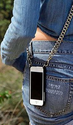 The Bandolier is an iPhone case that allows you to strap your iPhone over your shoulders, eliminating the need for a purse or even pockets