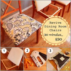 DIY Reholster dining room chairs. a whole new look in about 30 minutes with only $30
