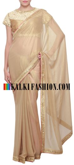 Buy Online from the link below. We ship worldwide (Free Shipping over US$100) http://www.kalkifashion.com/gold-foil-saree-enhanced-in-sequence-and-gotta-patti-border-only-on-kalki.html