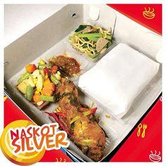 Nasi kotak #silver ... pilihan catering budget minimal dengan harga maksimal !!! 0856 0856 4441 Indonesian Food, Catering, Good Food, Lunch Box, Minimal, Budget, Chicken, Cooking, Silver