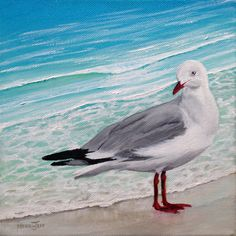 "The Seagull: #painting acrylic on stretched canvas 8"" X 8"" Artist: Merrin Jeff http://merrin-jeff-australian-artist.com"