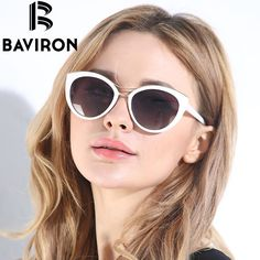 36aed83b6c BAVIRON New Fashion Cat Eye Sunglasses Women White Frame Gradient Polarized  Sun Glasses Driving UV400 Aluminium Eyewear Box 8527