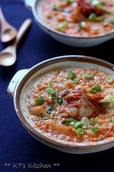 キムチと桜海老の雑炊 |レシピブログ - Spicy kimchi and dried shrimp rice porridge (recipe in Japanese) -