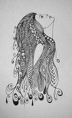 girl hair profile doodle zentangle