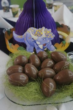 Chocolate eggs at a Dinosaurs Birthday Party! See more party ideas at CatchMyParty.com!