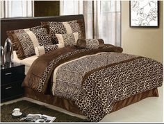 Zebra / Giraffe Animal Print Brown Micro Fur Comforter Set, Queen Size Bedding