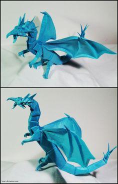 Origami Western Dragon by Lexar- on DeviantArt Origami And Quilling, Origami And Kirigami, Origami Folding, Paper Crafts Origami, Origami Art, Paper Folding, Paper Quilling, Oragami, Origami Butterfly
