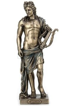 In Greek mythology, Apollo was the god of Light, Music, Poetry and Healing. True to mythology, he is depicted holding his famous Lyre. This piece makes a great gift for the mythology enthusiast. Greek Gods And Goddesses, Greek And Roman Mythology, Greek God Of Light, Apollo Mythology, Apollo Tattoo, Apollo Aesthetic, Greek God Tattoo, Apollo Greek, Apollo Statue