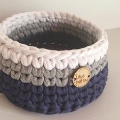 Basket - Pink, Grey + White - Nursery storage - colourful storage - Handmade - Nursery - Home DecorThese contemporary and modern crochet baskets are made with high quality recycled cotton Tshirt yarn.LoveIndiLou shared a new photo on Etsy Owl Home Decor, Home Decor Baskets, Crochet Basket Pattern, Crochet Patterns, White Storage Baskets, Tshirt Garn, Navy Blue Decor, Crochet Storage, Nursery Storage