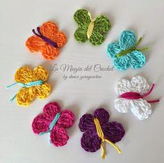 La Magia del Crochet: MARIPOSAS A CROCHET Crochet Butterfly Free Pattern, Crochet Stitches Patterns, Stitch Patterns, Pop Tab Bracelet, Crochet Baby, Knit Crochet, Plastic Canvas Crafts, Crochet Animals, Crochet Flowers