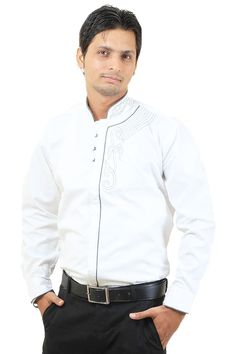 http://tinyurl.com/jeyajf7 Buy Online Stylish & Branded SIERA White Linen Party Wear Shirts For Men Lowest Prices only on GetAbhi.com