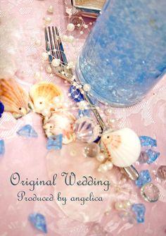 テーマ、お姫様のウェディング。 アリエルのブライダル、ゲストテーブルの飾りです♥️