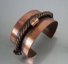 Vintage Copper Cuff Bracelet Mid Century Modernist At jujubee1, $22.50