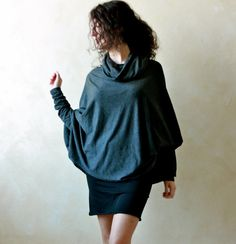 Long sleeve blouse women top winter clothing cowl neck by LoreTree, €65.00