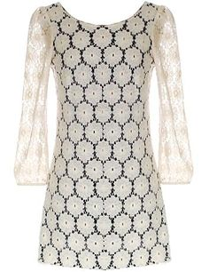 Vintage Lace Dress: Features a beautiful embroidered lace shell with contrast liner for pop, sheer 3/4-length lace sleeves with easy elastic cuffs, deep V design at back, and a top-to-bottom exposed rear zipper to finish.