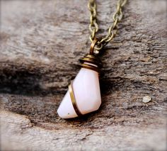 Pink Opal Necklace Light Pink Opal Jewelry Wire by GypsyGemsHawaii