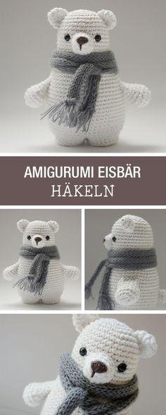 DIY-Anleitung: süßen Amigurumi Bären mit Schal selbst häkeln, Winterdeko für Dein Zuhause / DIY tutorial: crocheting cute amigurumi ice bear, winter home decor via DaWanda.com