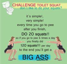 Toilet squats challenge
