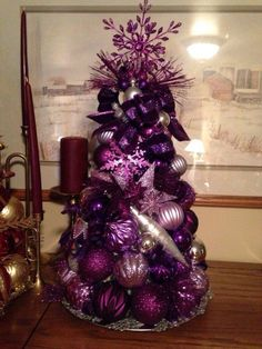 19 Amazingly Gorgeous Purple Christmas Decorations To Add Sophistication In Your… Purple Christmas Tree Decorations, Black Christmas Trees, Noel Christmas, Christmas Colors, Xmas Tree, All Things Christmas, Christmas Wreaths, Christmas Crafts, Christmas Ornaments