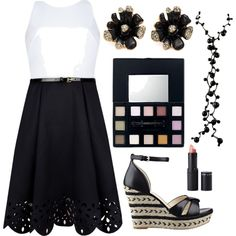 Classy Black And White by ellary-branden on Polyvore featuring Ted Baker, Nine West, Oscar de la Renta and Bare Escentuals