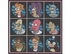 Futurama - Minis - Counted Cross Stitch Pattern by HornswoggleStore, $5.00 (TV, Adult Swim, Bender, Leela, Fry, Zoidberg, Sci-Fi, cartoon, geek, nerd)