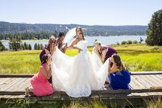 Val Perkins, having a great time with her girls on the board walk at Juniper Point in Big Bear Lake. Wedding at Inn at Fawnskin.  @Louis G Weiner Photography