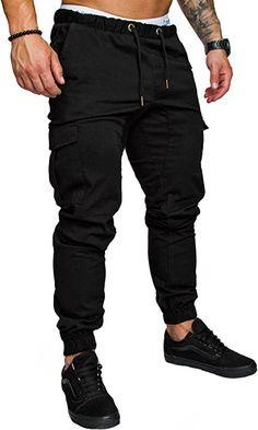 Amaci&Sons Jogger Cargo Herren Chino Jeans Hose 7001 Schwarz W30: Amazon.de: Bekleidung