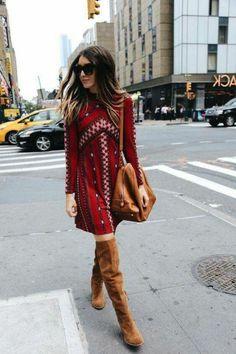 robe boheme, streetstyle boho chic, longues bottes et sac en cuir