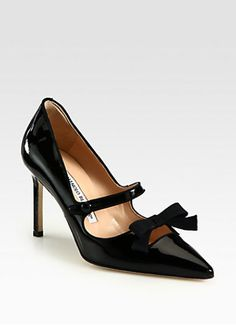 Manolo Blahnik Black Patent Leather Mary Jane Bow Pumps - GET IN MY CLOSET! More