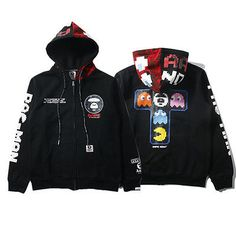 Mens Bape AAPE Japan Style Shark Monkey Head Hoodie Sweater Casual Coat Jacket